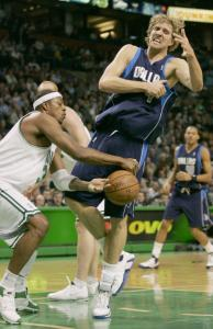 Paul Pierce strips the ball from Dallas's Dirk Nowitzki in the second half.
