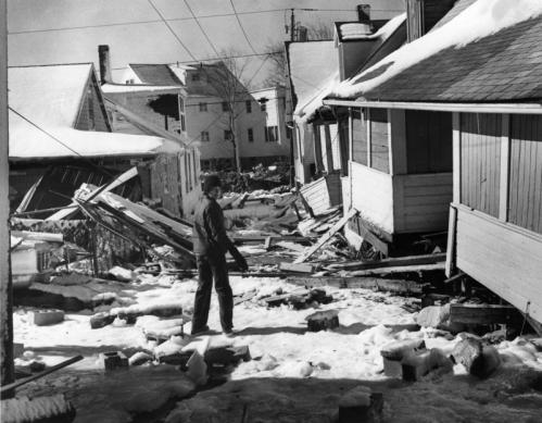 The Beachmont section of Revere was among the hardest-hit sections of the town. Over 2,500 people had to evacuate homes there during the '78 storm. This view is on Ocean View Avenue near Broad Sound Avenue, about 20 feet from the Rocky Beach seawall. The boy's name isn't known.