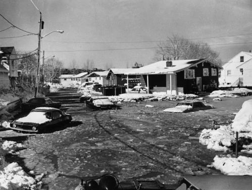 Down at the other end of Dolphin Avenue in Revere, these homes and cars on Leverett Avenue were inundated with snow and seawater that washed in from the ocean, more than 1,000 feet away. What made the blizzard of '78 especially furious was tides that surged 16 feet above normal because of a rare phase in the moon's rotation and orbit around the Earth, plus hurricane-strength wind gusts.