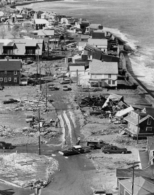 Homeowners on Rebecca Road in Scituate, just up the coast from the famous lighthouse at the entrance to Scituate Harbor, came out to inspect damage on Feb. 9, 1978.