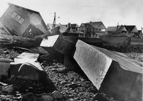 At Minot Beach in Scituate, the power of the 1978 storm's fury was dramatized by how it tossed around these pieces of seawall, each weighing several tons.