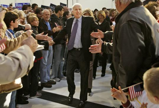 Senator John McCain of Arizona greeted supporters yesterday as he arrived at a campaign rally in Chesterfield, Mo. McCain has surged to the front-runner's position following a win in the Florida primary.