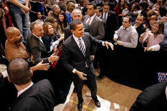 Senator Barack Obama greeted supporters during a rally at the Taco Bell Arena at Boise State University yesterday. Hillary Clinton still leads in most national polls and enjoys broader name recognition.