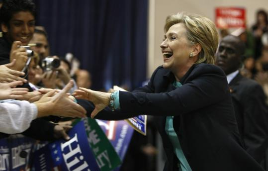 Hillary Clinton greeted supporters yesterday during an event at California State University in Los Angeles. Clinton has campaigned as the inevitable Democratic nominee, on experience, and on the economic success of the 1990s.