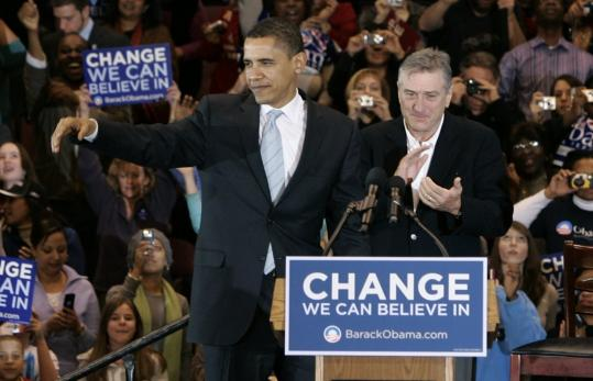 Senator Barack Obama of Illinois received support from actor Robert De Niro yesterday during a campaign stop in East Rutherford, N.J. 'I'm here because finally one person has inspired me. One person has given me hope,' De Niro said.