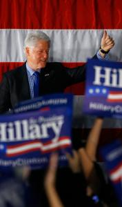Bill Clinton campaigned for Democratic presidential hopeful Hillary Clinton at Santa Ana College in California. A new poll suggests that Clinton and Barack Obama are locked in a statistical dead heat with California voters.