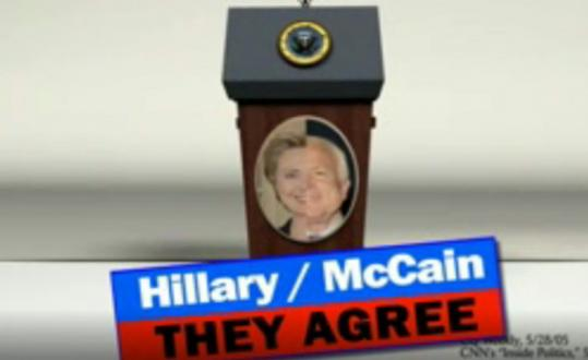 A Mitt Romney campaign Web ad that appeared on YouTube featured Hillary Clinton and John McCain.