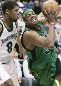 Paul Pierce gets past ex-Celtics mate Ryan Gomes.