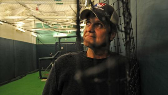 Patrick Lyons is opening the visitors' batting cage at Fenway Park to Game On! patrons.
