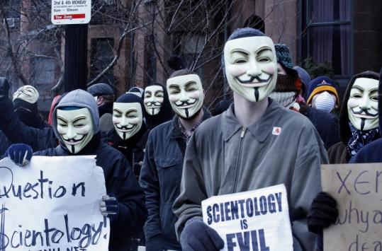 Many demonstrating outside Church of Scientology headquarters yesterday wore Guy Fawkes masks, an allusion to the British insurgent and a film depicting an antigovernment movement.