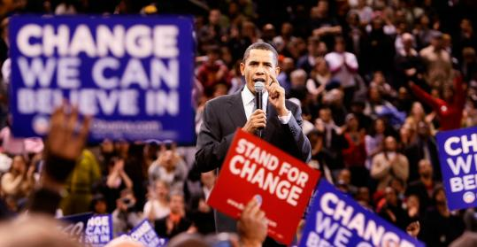 Barack Obama spoke at a rally in Baltimore. Primaries will be held today in Maryland, Virginia, and the District of Columbia.
