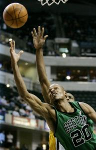 Ray Allen, who has a shot at getting a late All-Star invitation, slips past Shawne Williams to score 2 of his 23 points.