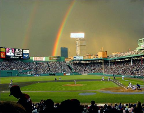 Buy photographs by Jim Davis A double rainbow lingered over Fenway Park during a 2000 Friday night game featuring the Boston Red Sox and the Atlanta Braves.