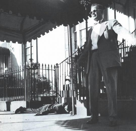 Floyd Boring standing guard outside Blair House in Washington, D.C., after the shootout that thwarted an attempt to kill President Harry S. Truman.