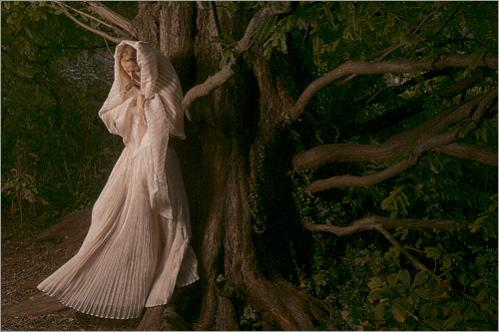 Carolina Blodgett wears an organza dress she made herself in two years. She is leaning against the oldest Dawn Redwood tree in America. It is the root source of all domestic Dawn Redwoods, and was originally from China.