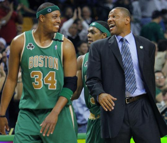 This was a rare happy moment from last season, when Paul Pierce, Doc Rivers, and the Celtics were one of the worst teams.