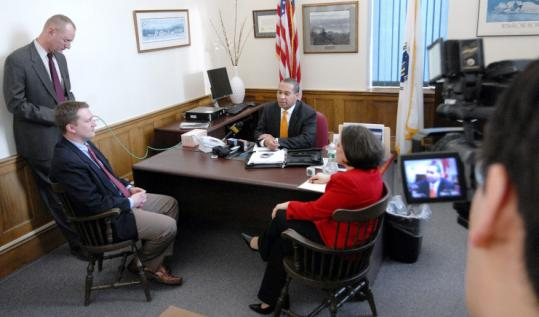 Governor Deval Patrick recently met with reporters in his Springfield office, which he opened full time last month.
