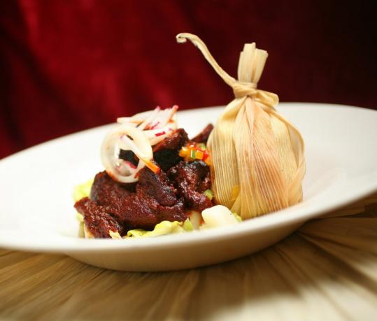 At Olé Mexican restaurant, chili-seasoned pot roast of pork and corn tamales are influenced by the chef's trip to Chiapas.