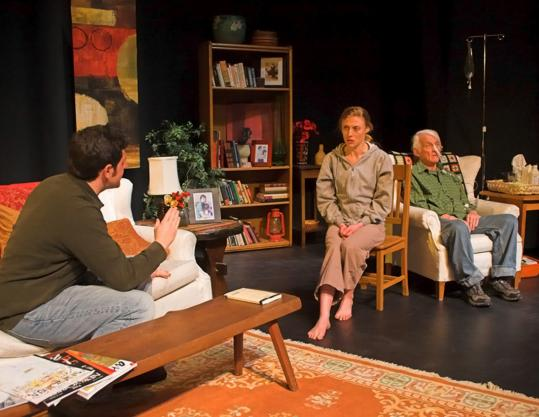 Brett Marks (left) as Sean, Eliza Lay as Lia, and W. Kirk Avery as Alex in Don DeLillo's play about a dying man and his family.