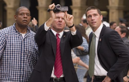 From left: Forest Whitaker, Dennis Quaid, and Matthew Fox star in an action movie that shows events from several characters' perspectives.
