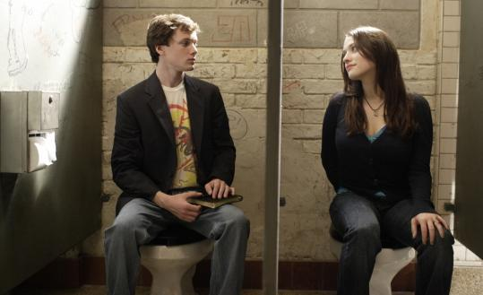 Anton Yelchin, in the title role, counsels Kat Dennings from his usual spot.