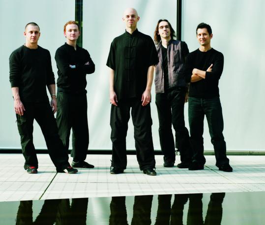 Ronin, which was formed by Nik Bärtsch, is made up of (from left) Kaspar Rast, Sha, Bärtsch, Bjorn Meyer, and Andi Pupato.