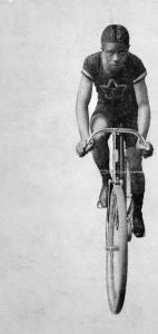 Marshall Walter Taylor around his 20th birthday, 1898, when he shocked the cycling world with his record speed trials in Philadelphia.