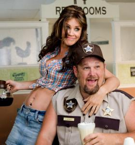 Larry the Cable Guy and Jenny McCarthy star in a film where unsophisticated slapstick reigns.