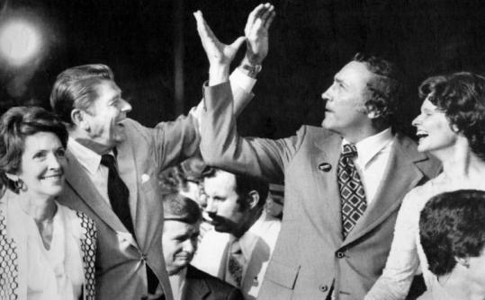 Republican presidential candidate Ronald Reagan and his running mate Senator Richard Schweiker in Kansas City, Mo.