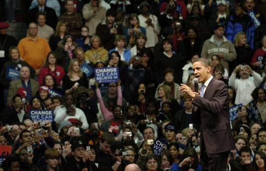 Barack Obama addressed a rally in Youngstown, Ohio, last week. Obama's campaign used its social networking site to enlist volunteers in the state to help set up its ground operation in anticipation of the March 4 primary.
