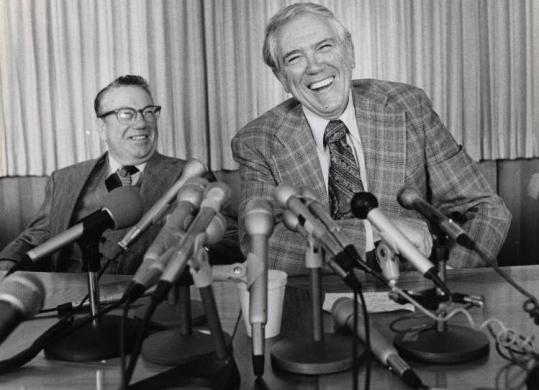 Douglas Fraser (right), at a news conference with UAW official Pat Greathouse in Detroit.
