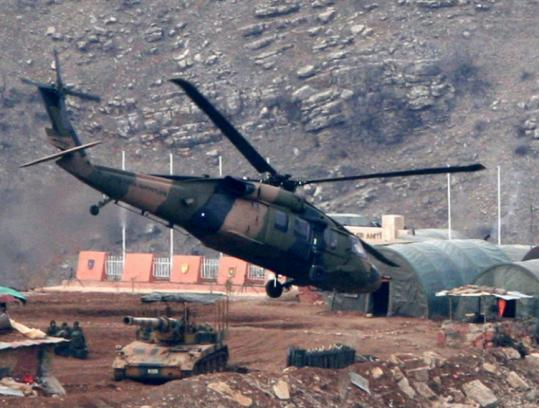 A Black Hawk helicopter of the Turkish Army flew