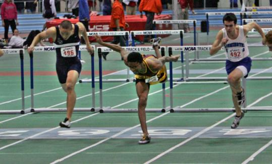 It's no stretch to suggest BC High's Corey Thomas went all out to earn his victory in the 55-meter hurdles.
