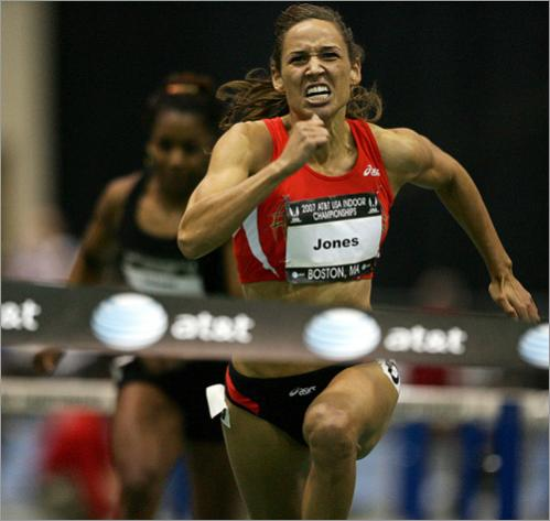 Buy this picture! Lolo Jones wins the women's 60 meter hurdles with a time of 7.88 seconds during the US Indoor Track & Field Championships at the Reggie Lewis Center in 2007.