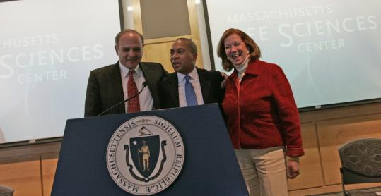 Governor Deval Patrick appeared with House Speaker Salvatore F. DiMasi and Senate President Therese Murray at a press conference earlier this month. Patrick says that he, DiMasi, and Murry have been building a relationship for the last 13 months.