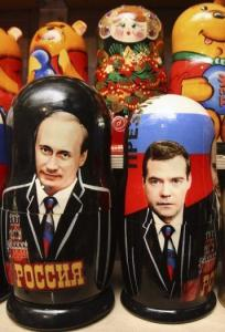 Matryoshka dolls of President Vladimir V. Putin and Dmitry Medvedev on display at a souvenir stall in Moscow.