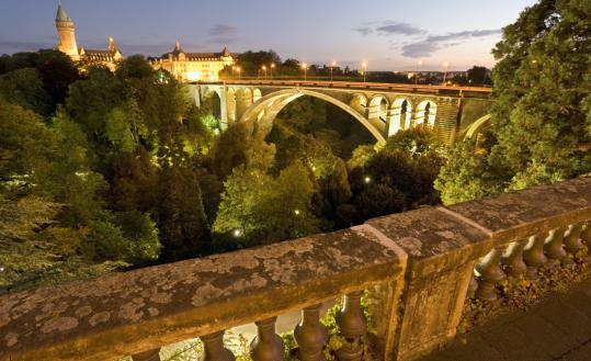 The Adolphe Bridge over the Pétrusse River in Luxembourg City was built between 1900-03.