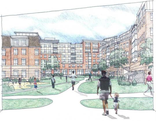 Artist's rendering of proposed Charlesview development in Allston-Brighton.