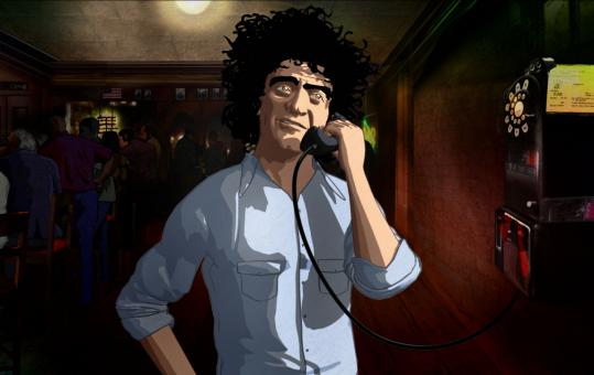 Abbie Hoffman, a 1960s counterculture activist as seen in Brett Morgen's 'Chicago 10.' The docudrama uses a combination of animation and archival footage.