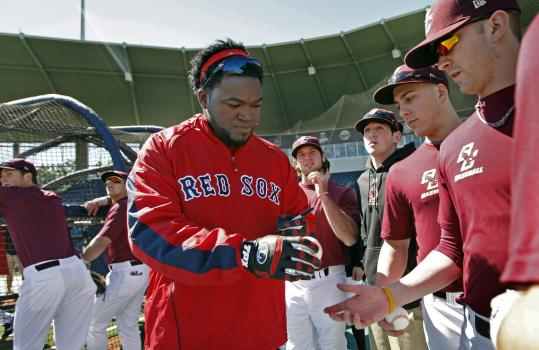 David Ortiz obliged his eager BC opponents with autographs before the Red Sox signed off on a 24-0 exhibition victory.