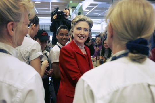 Senator Hillary Clinton visited with workers yesterday at a Bob Evans Restaurant in Rio Grande, Ohio.
