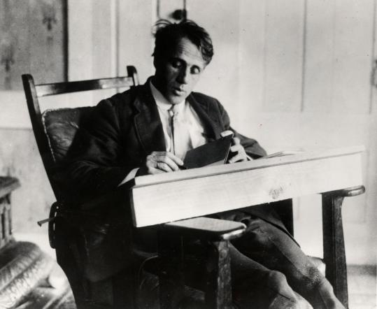 Robert Frost, shown above circa 1915, wrote to his son that 'you can say a lot in prose that verse won't let you say.'