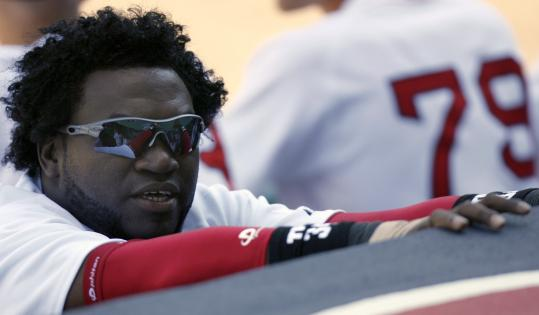 While the fans watched the action, Red Sox slugger David Ortiz kept his sun-shielded eyes on the fans at City of Palms Park.