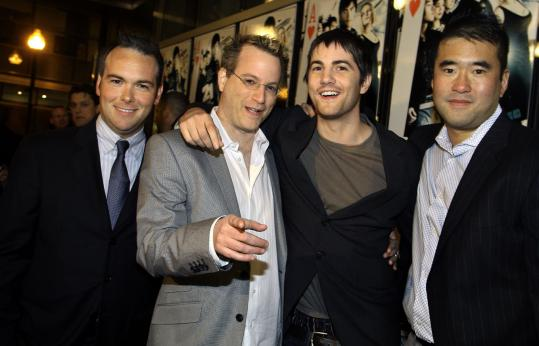 From left: '21' producer Dana Brunetti, author Ben Mezrich, actor Jim Sturgess, and Jeff Ma at the screening.