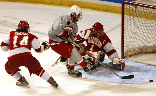 Waltham goalie Steve Hopkins saved 38 of 40 shots in Saturday's 2-0 loss to Catholic Memorial.
