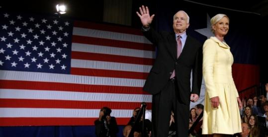 John McCain and his wife, Cindy, were greeted with loud applause last night at his campaign rally in Dallas. 'I understand the responsibilities I incur with this nomination,' he said.