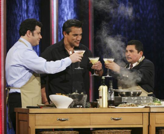 From left, Jimmy Kimmel, Todd English, and Guillermo Rodriguez toast on Kimmel's talk show.