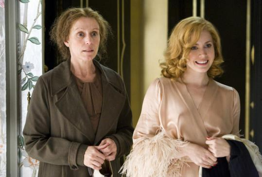 Frances McDormand (left) plays a social secretary to Amy Adams's American starlet in pre-Blitz London.