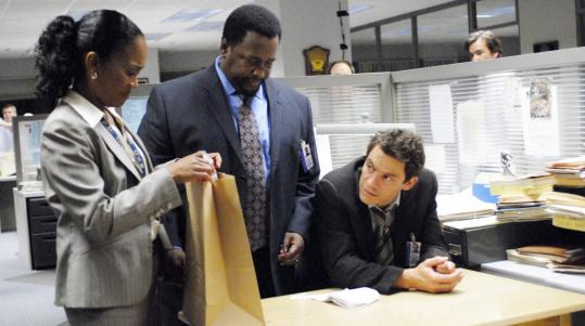 From left: Sonja Sohn, Wendell Pierce, and Dominic West in the finale of HBO's 'The Wire.'