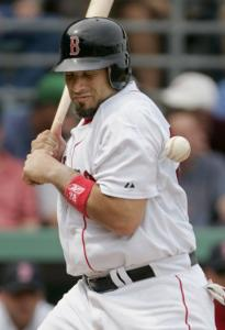 Doug Mirabelli got plunked by former Sox batterymate Derek Lowe in the second.